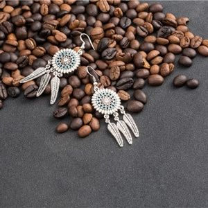 Tribal Yellow shield & silver feather earrings